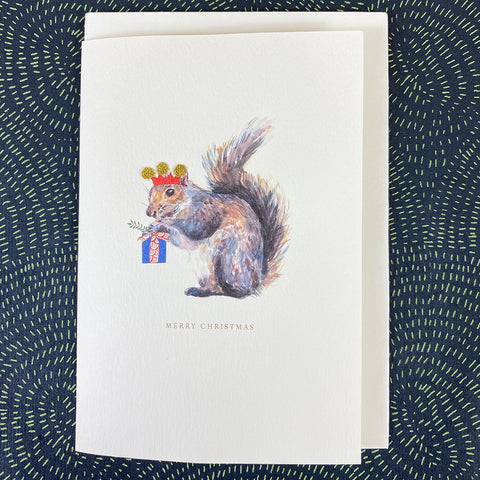Elena Deshmukh Card, Merry Christmas Squirrel.