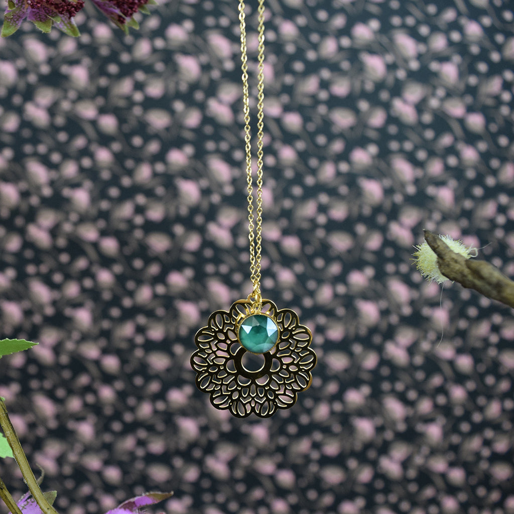 Emerald Swarovski Crystal Gold Flower Necklace.
