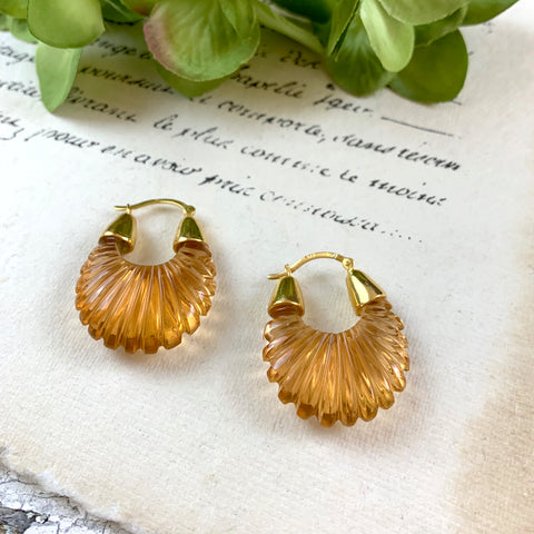 Shyla Ettienne Champagne Ridged Earrings.
