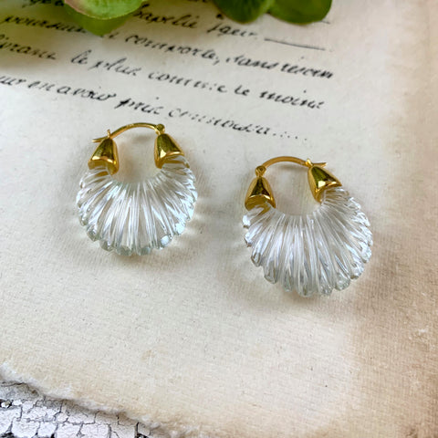 Shyla Ettienne Crystal Clear Ridged Earrings.