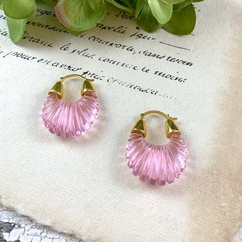 Shyla Ettienne Pink Ridged Earrings.
