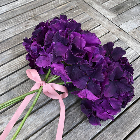 Silk-Ka Faux Flowers: Deep Purple Hydrangea Stem