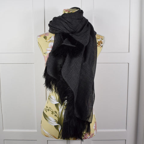Feneun Cashmere Scarf with Ostrich Feather Fringe. Charcoal and Black.