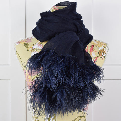 Feneun Cashmere and Silk Scarf with Ostrich Feather Fringe. Midnight Blue.