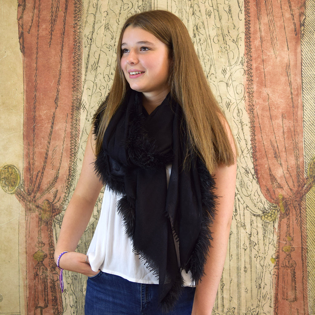 Feneun Cashmere and Silk Scarf with Ostrich Feather Fringe. Black.