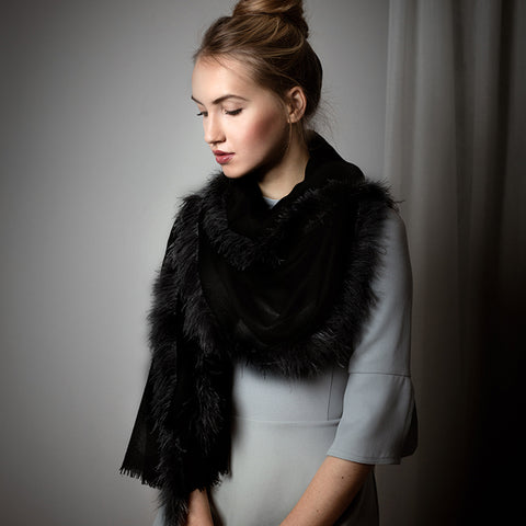 Feneun Virgin Wool Scarf with Ostrich Feather Trim. Black Iris.