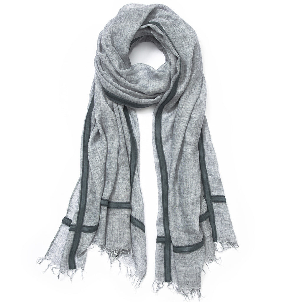 Feneun Limited Edition Cashmere Grey Scarf with Teal Ribbon Detail.
