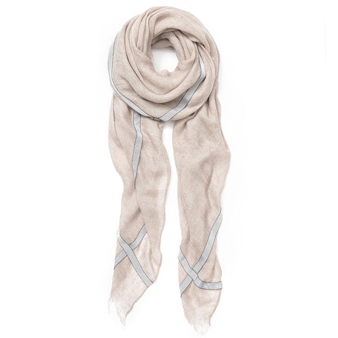 Feneun Limited Edition Cashmere Beige Scarf with Silver Grey Ribbon Detail.