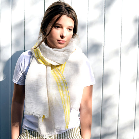 Feneun Limited Edition Linen Yellow Stripe Scarf.