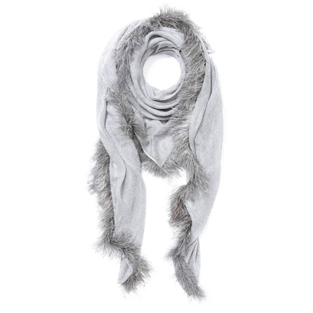 Feneun Cashmere Scarf with Ostrich Feather Fringe. Pearl Grey.