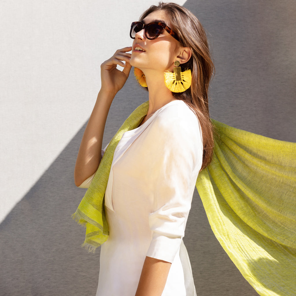 Feneun Cashmere and Silk Scarf with Silk Stripe. Sunny Yellow.