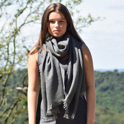 Feneun Dark Grey Modal and Cashmere Blend Scarf with Metallic Silver Thread.
