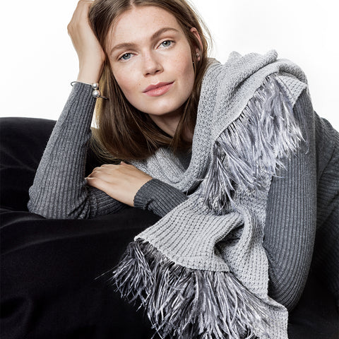Feneun Fea Light Grey Virgin Wool Scarf with Ostrich Feather Trim.