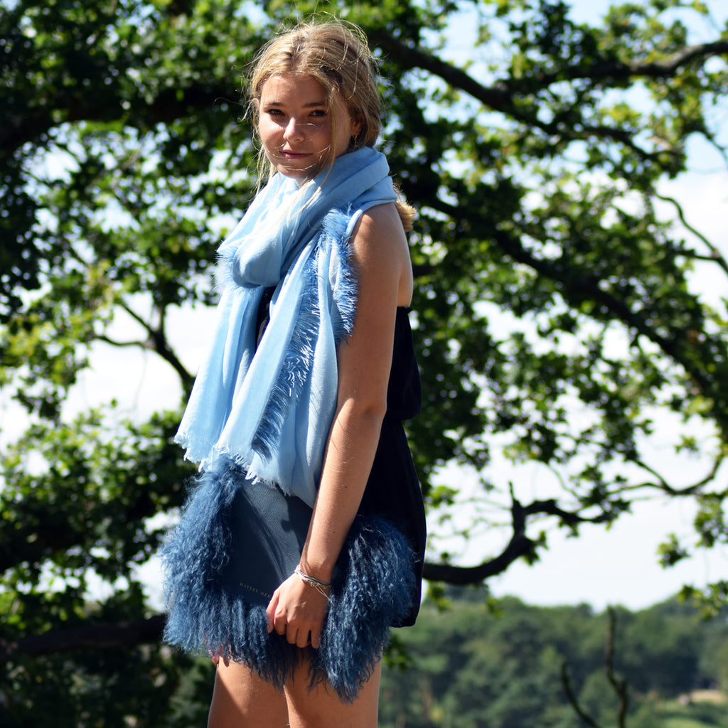 Feneun Virgin Wool Scarf with Ostrich Feather Trim. Icy Blue.