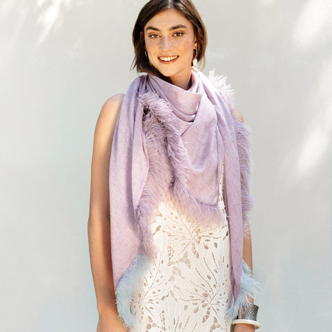 Feneun Two Tone Lavender Scarf with Ostrich Feather Trim.