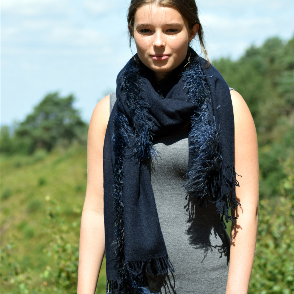 Feneun Cashmere and Silk Scarf with Ostrich Feather Fringe. Marine Blue.