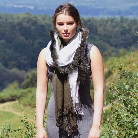Feneun Virgin Wool and Cashmere Scarf with Ostrich Feather Trim. Olive Gradient.