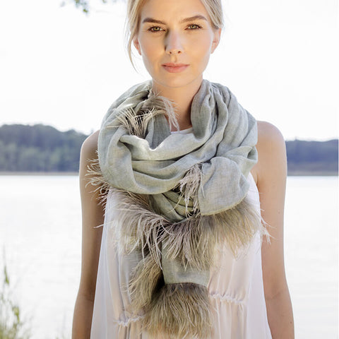 Feneun Cashmere Scarf with Ostrich Feather Fringe. Olive.