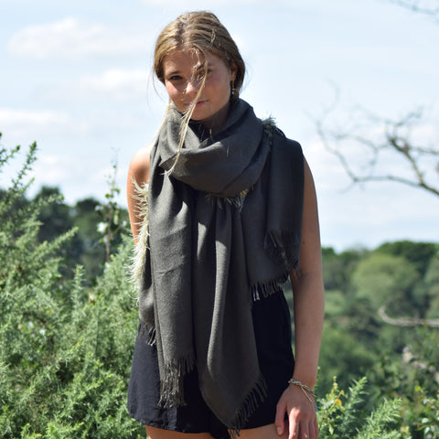Feneun Cashmere & Silk Scarf with Ostrich Feather Fringe. Olive