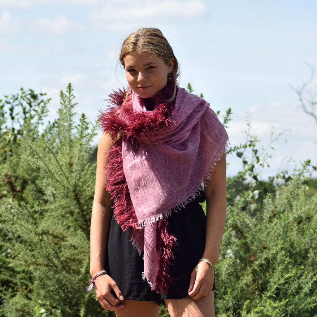 Feneun Modal, Cashmere & Silk Scarf with Ostrich Feather Fringe. Rose Pink.