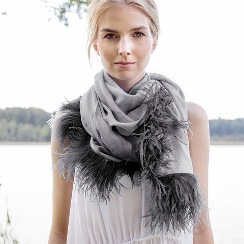 Feneun Cashmere and Silk Scarf with Ostrich Feather Fringe. Grey.