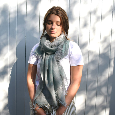 Feneun Cashmere and Silk Scarf with Ostrich Feather Fringe. Sea Green.