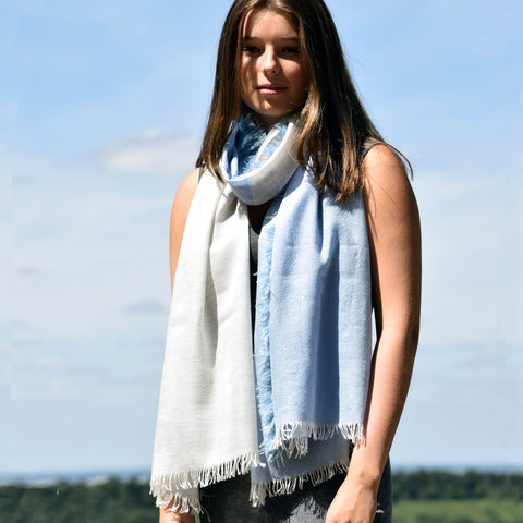Feneun Cashmere, Silk and Ostrich Feather Scarf. Sky Blue.