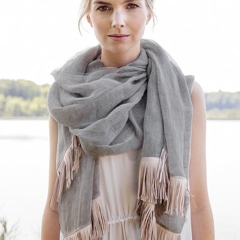 Grey & Pink Linen Scarf