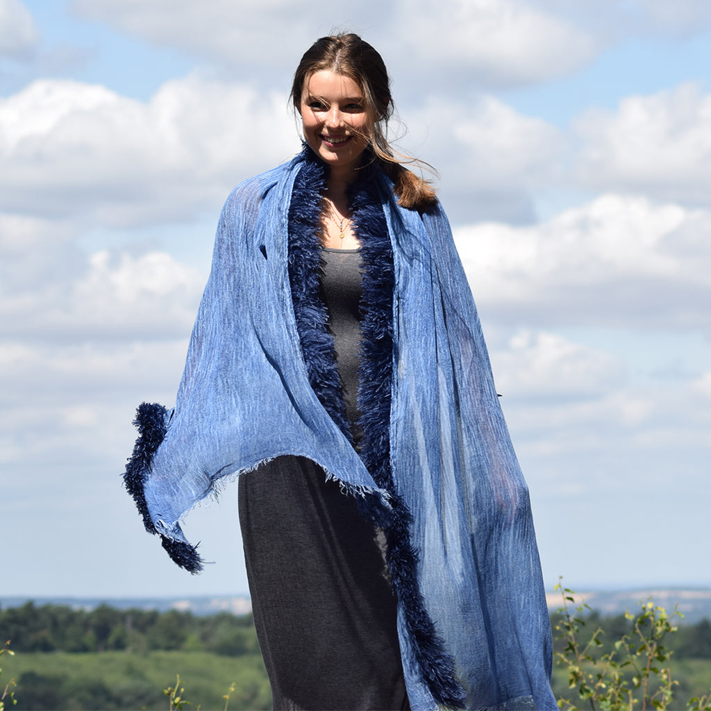 Feneun Modal Silk & Cashmere Scarf with Ostrich Feather Fringe. Azure Blue.