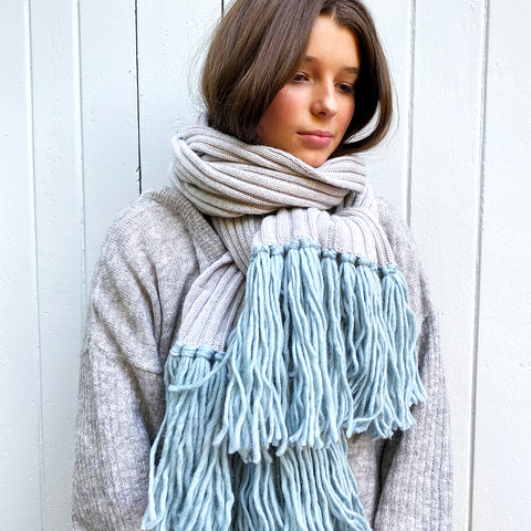 Feneun Bonnie Limited Edition Scarf, Grey and Pale Blue