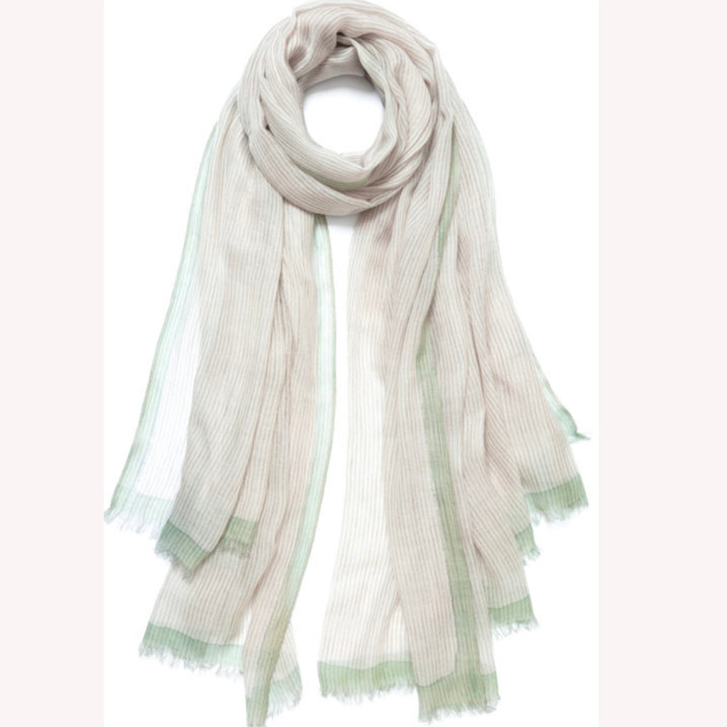 Feneun Cashmere and Merino Wool Scarf. Cassis Mint.