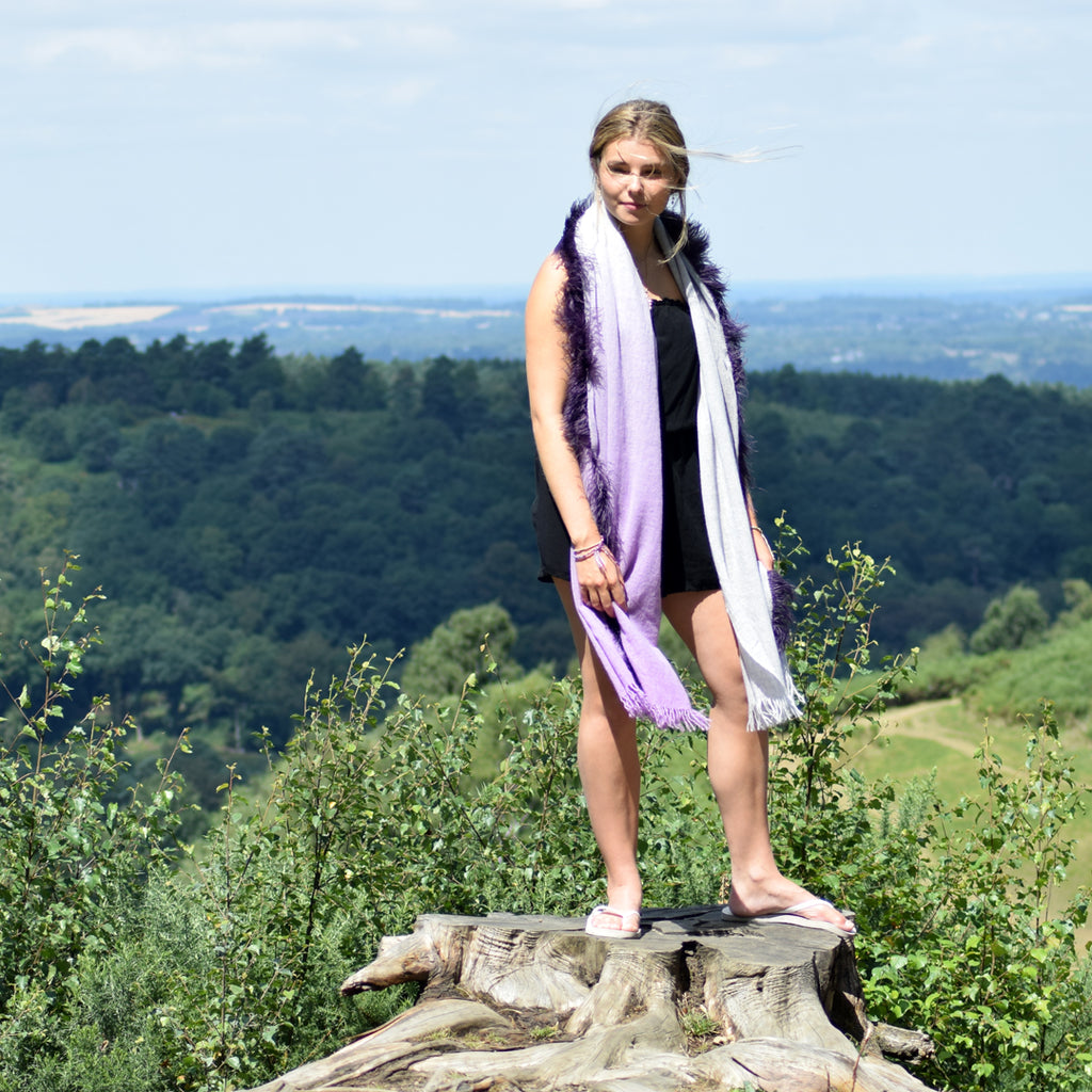 Feneun Virgin Wool and Cashmere Scarf with Ostrich Feather Trim. Lilac Gradient.