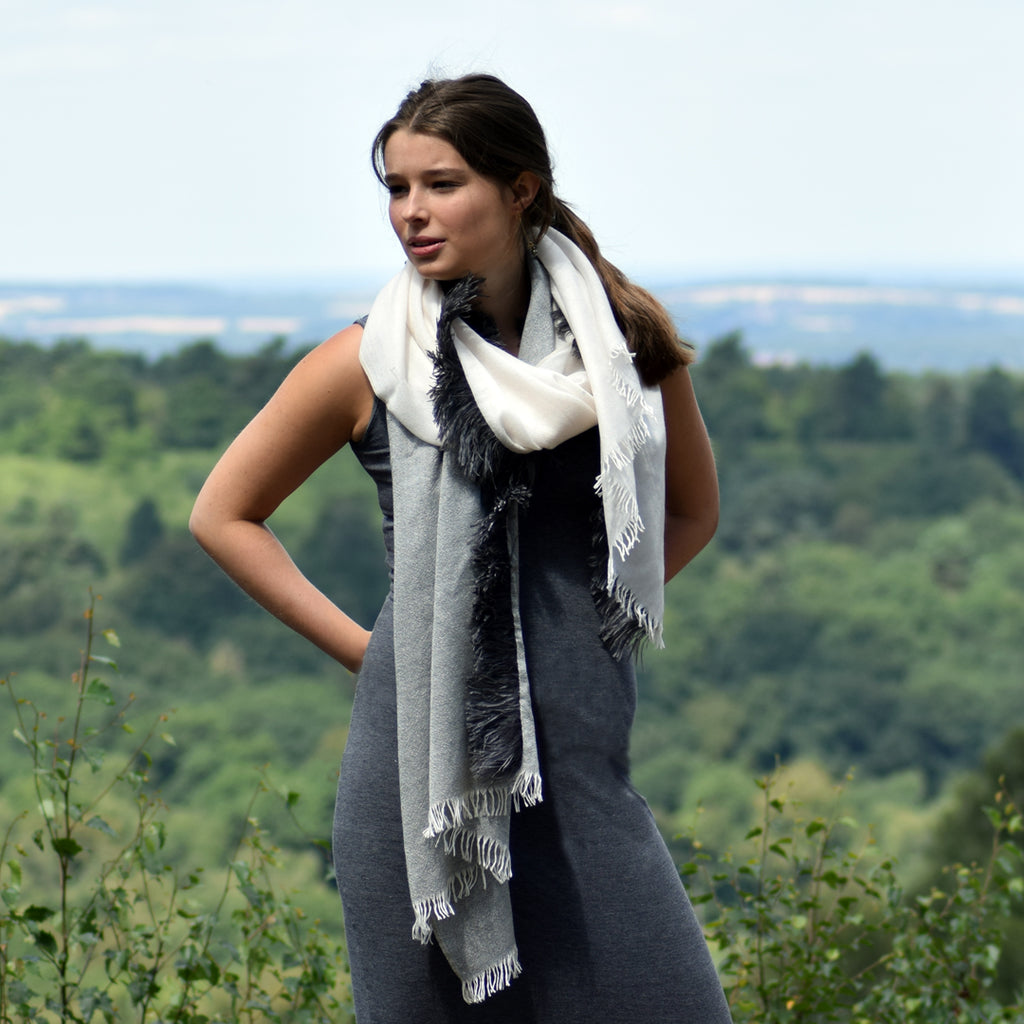 Feneun Cashmere and Silk Scarf with Ostrich Feather Trim. Two Tone Grey.