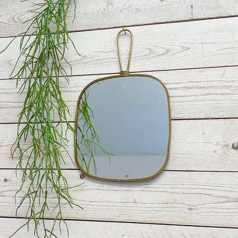 Flora Antique Brass Mirror With Hanging Handle. Small.