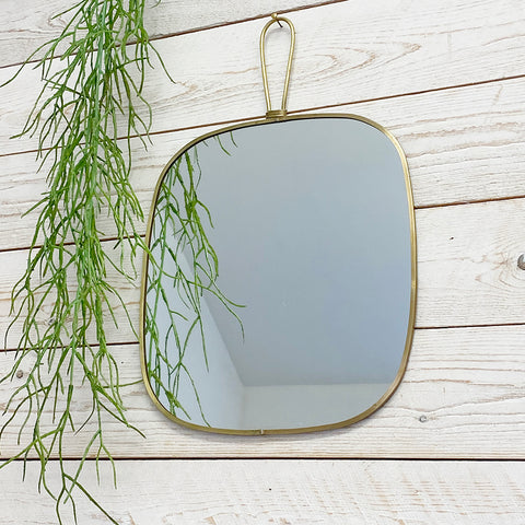 Flora Antique Brass Mirror With Hanging Handle. Large.