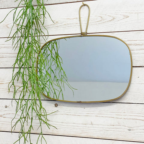 Flora Antique Brass Mirror With Hanging Handle. Oblong.
