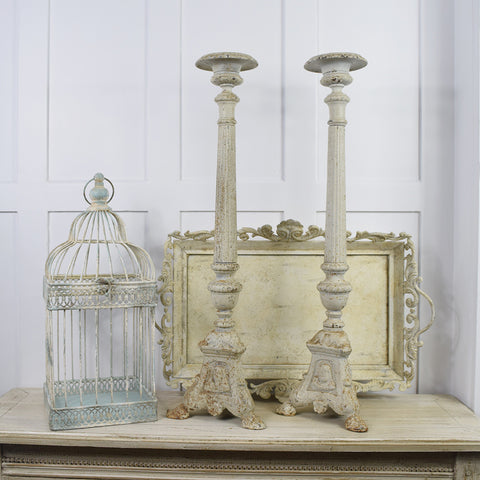 Aged style white metal candle sticks