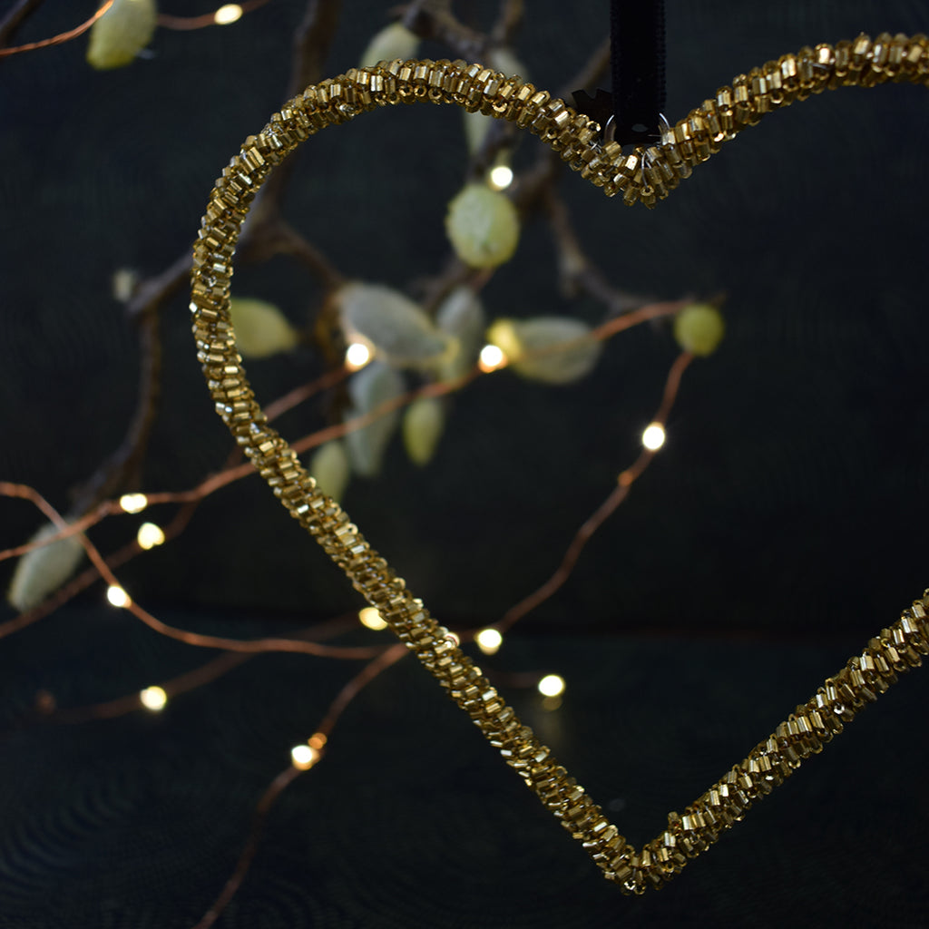 Gold Beaded Heart Hanging Decoration.