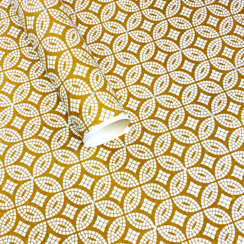 Handmade Wrapping Paper. Gold Mosaic.
