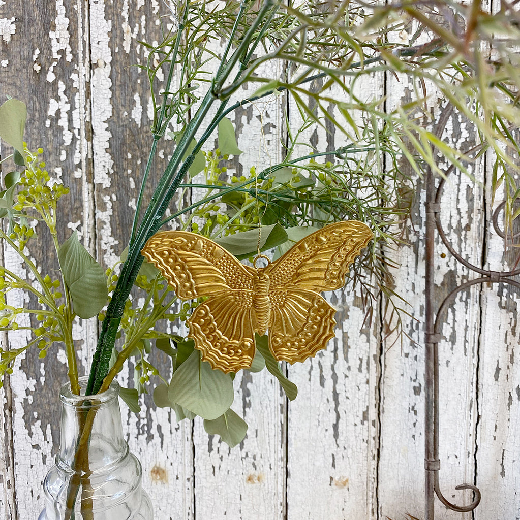 Golden Butterfly Christmas Hanging Decoration
