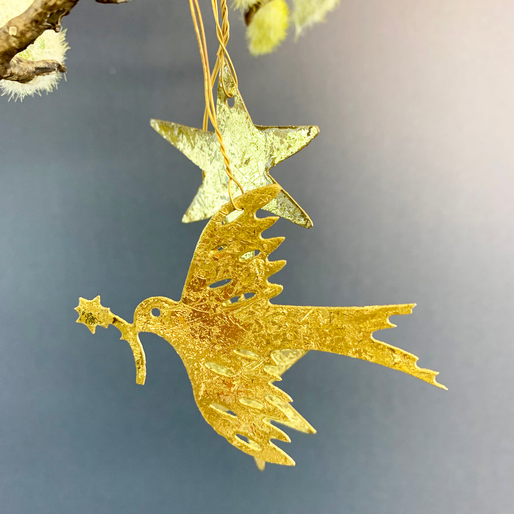 Golden Dove & Stars Hanging Decoration