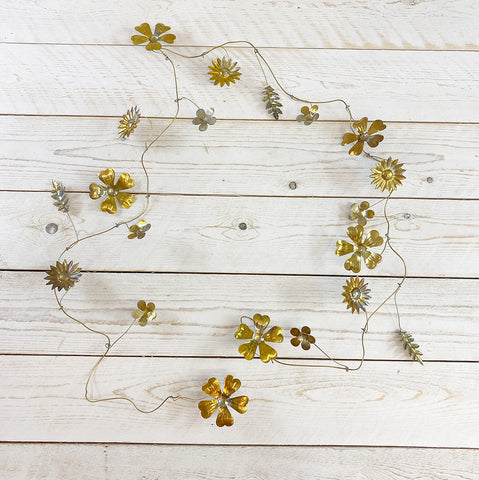 Golden Floral Metal Garland