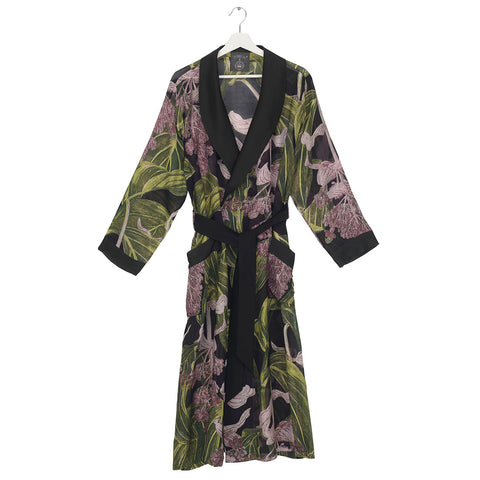 One Hundred Stars Medinilla Black Dressing Gown.