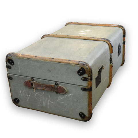 Vintage Steamer Trunk. Olive Green.