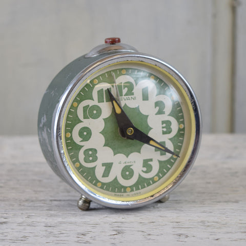 Vintage Sevani Wind Up Alarm Clock. Green.