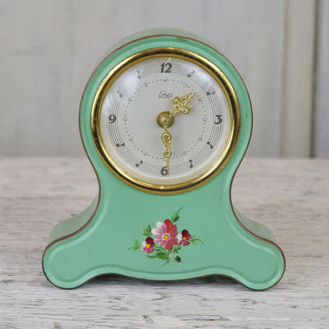 Vintage Alarm Clock, Green With Flower Motif.