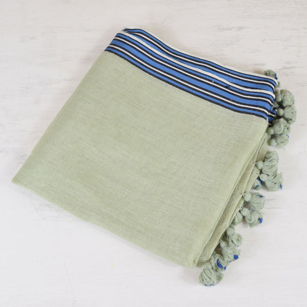 One Hundred Stars Green and Blue Stripe Scarf.