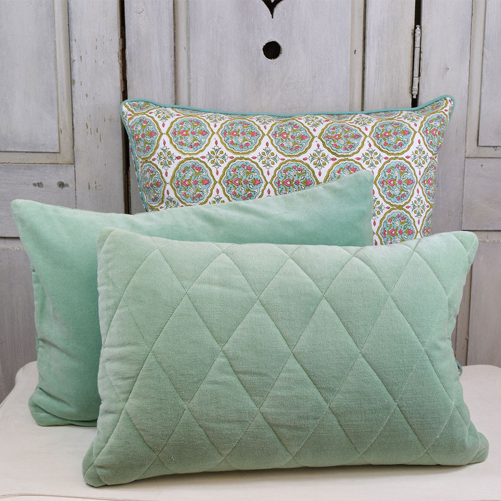 Quilted Velvet Cushion. Pale Green.