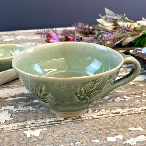 Crackle Glaze Antique Green Cup with Handle.