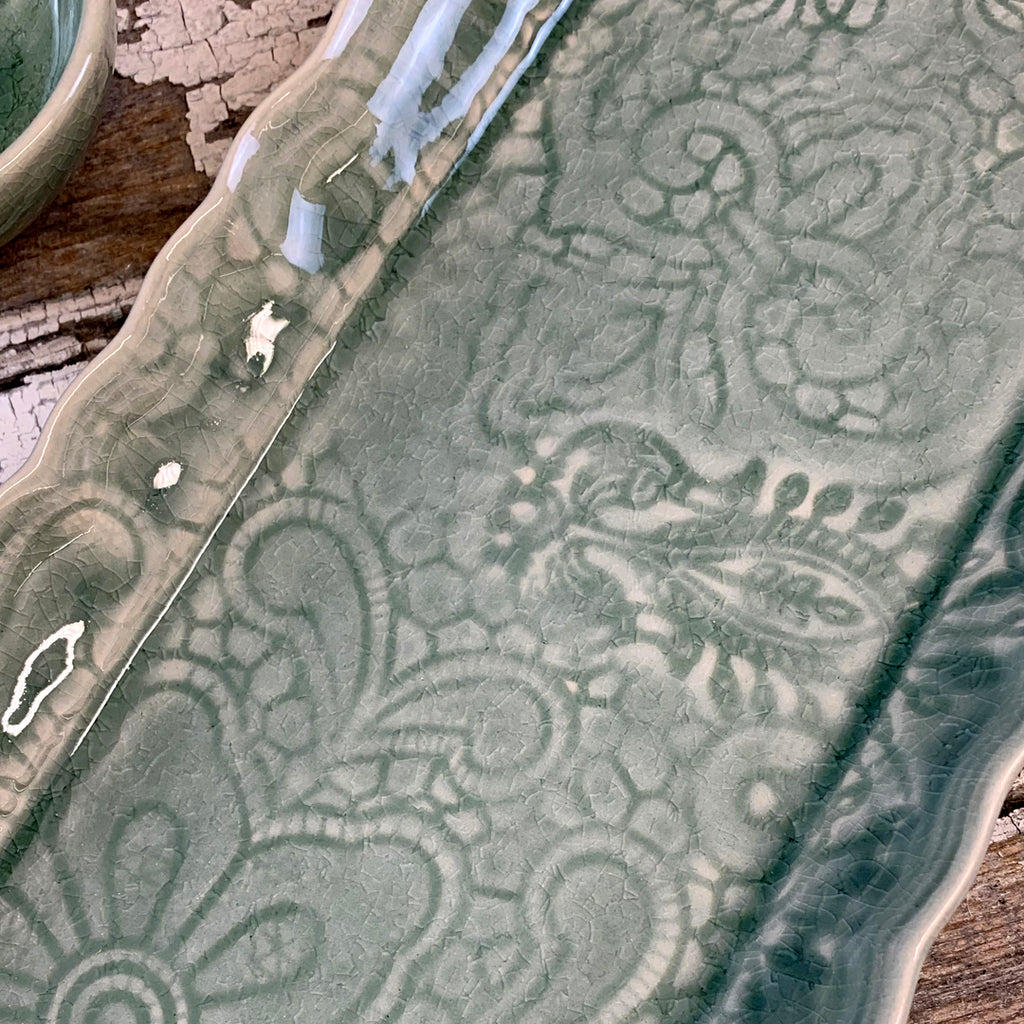 Crackle Glaze Antique Green Tray Dish.